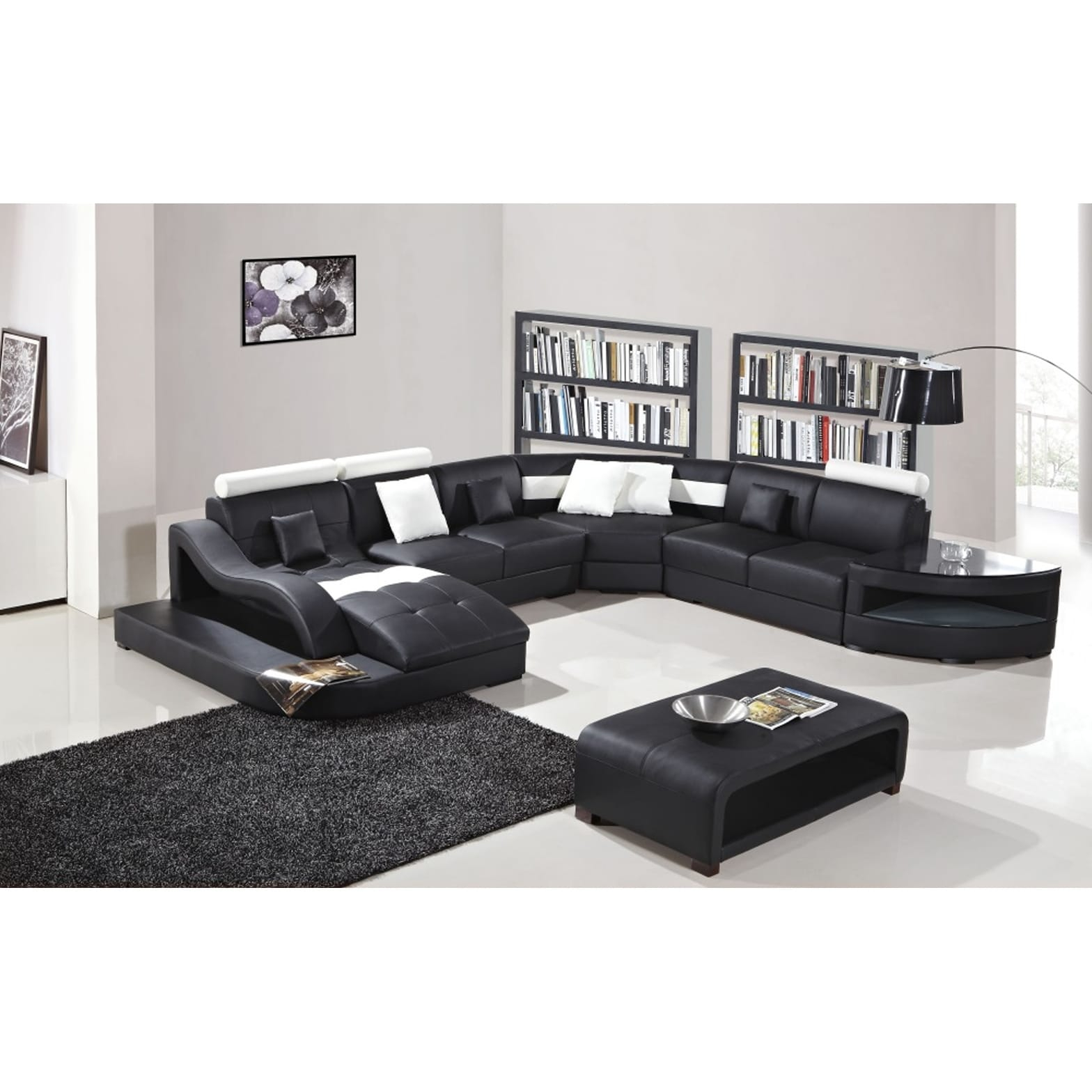 Black And White Modern Contemporary Real Leather Sectional Living Room Set With Chaise Lounge Storage Shelves And Coffee Table pertaining to White Leather Living Room Sets