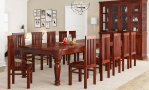 Clermont Rustic Solid Wood 14 Piece Large Dining Room Set intended for Rustic Living Room Sets