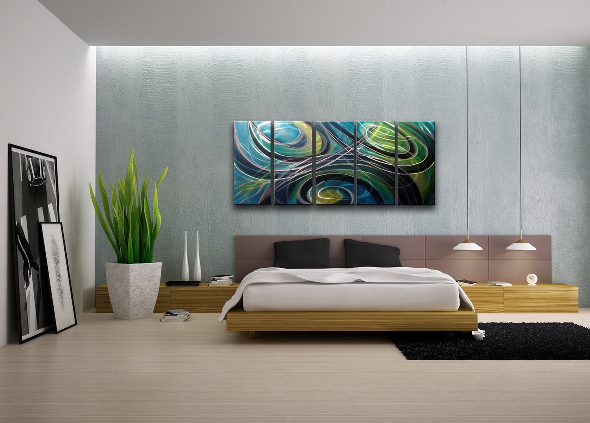 Contemporary Wall Art Modern Design And Decor Metal Canvas within 12 Awesome Tricks of How to Craft Modern Art For Bedroom