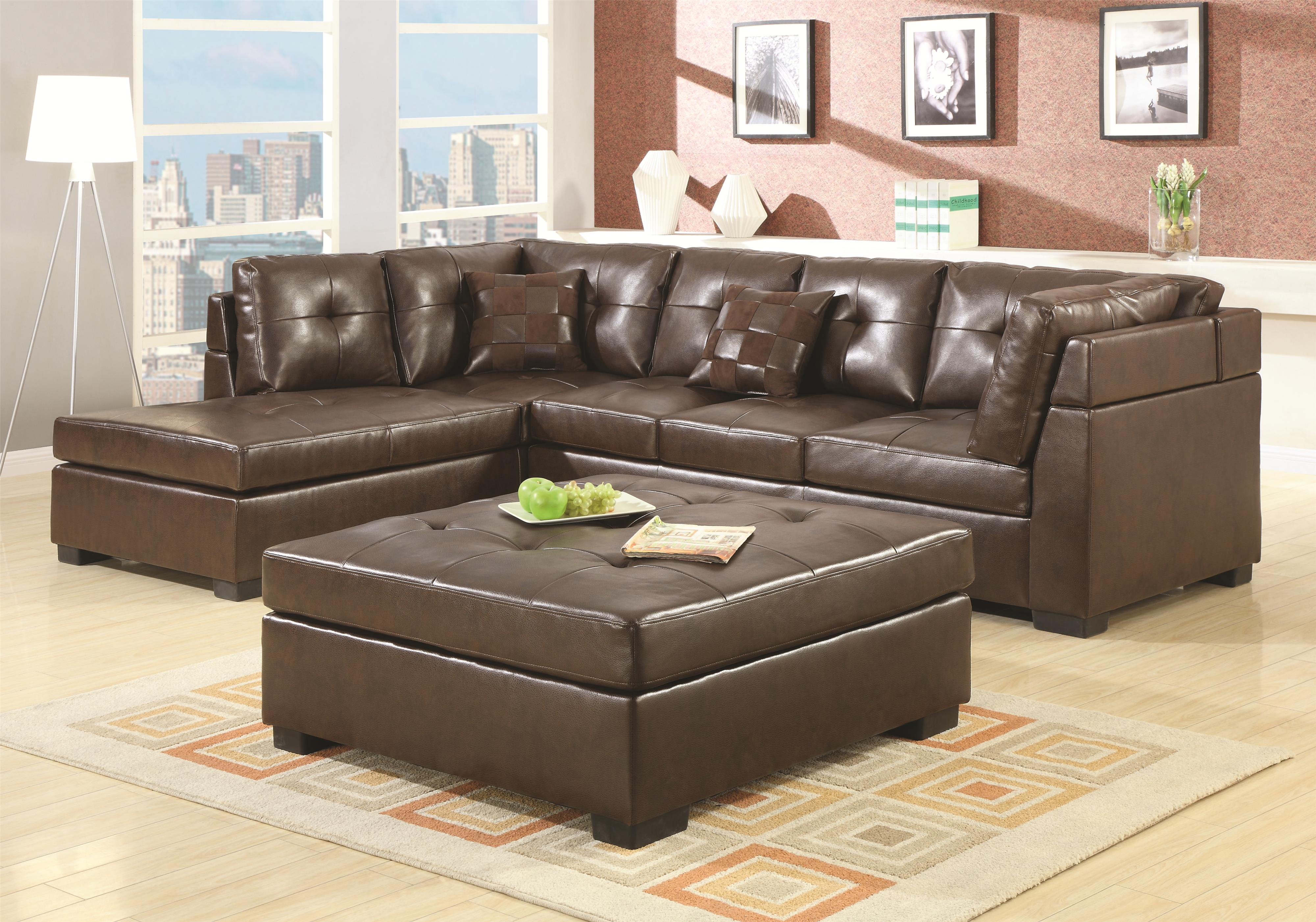 Darie Leather Sectional Sofa With Left Side Chaise Fine Furniture At Del Sol Furniture within Whole Living Room Sets