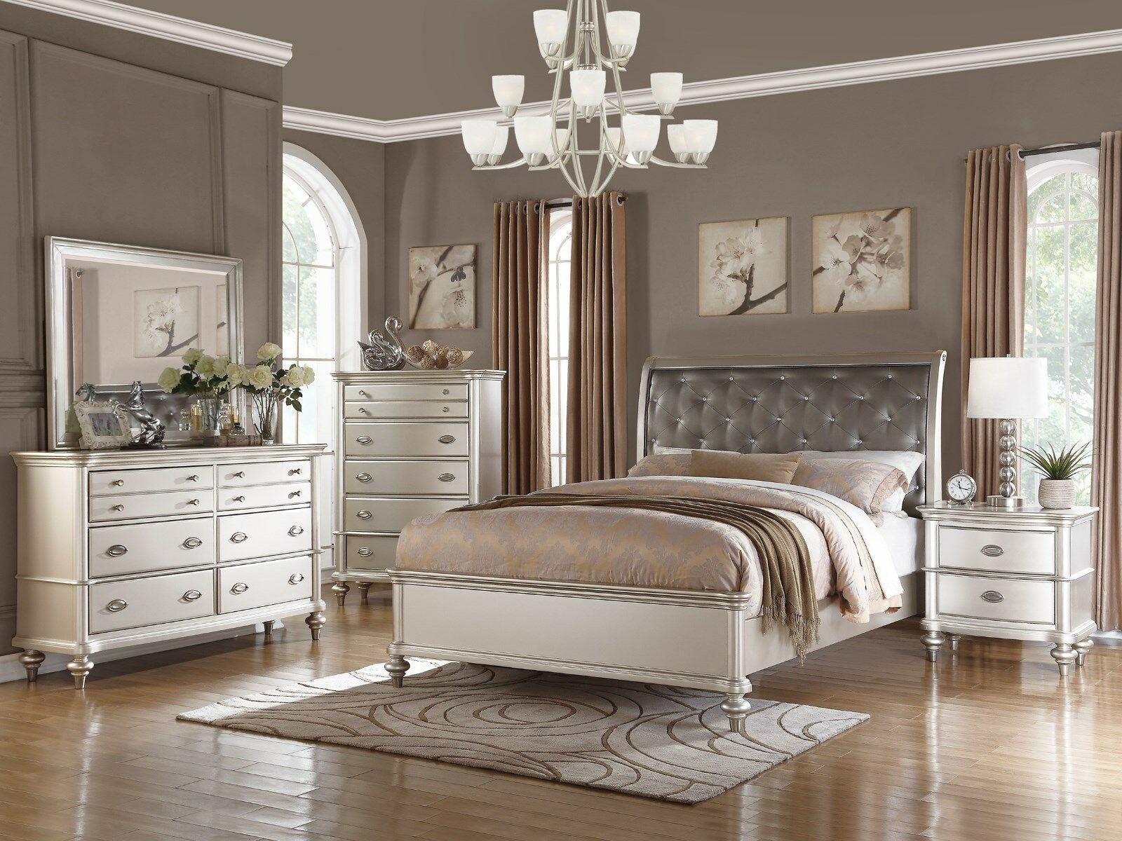 Details About 6pc Zurich Modern Transitional Metallic Silver Wood Queen King Bedroom Set inside 10 Smart Concepts of How to Make Modern Bedroom Sets King