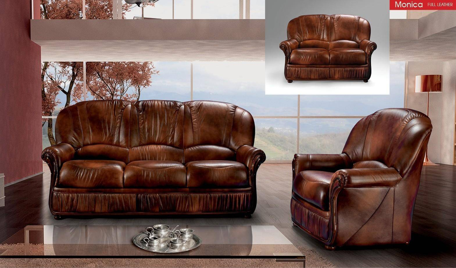 Esf Monica 2 Pcs In Brown Leather with 11 Clever Ideas How to Makeover Full Living Room Sets
