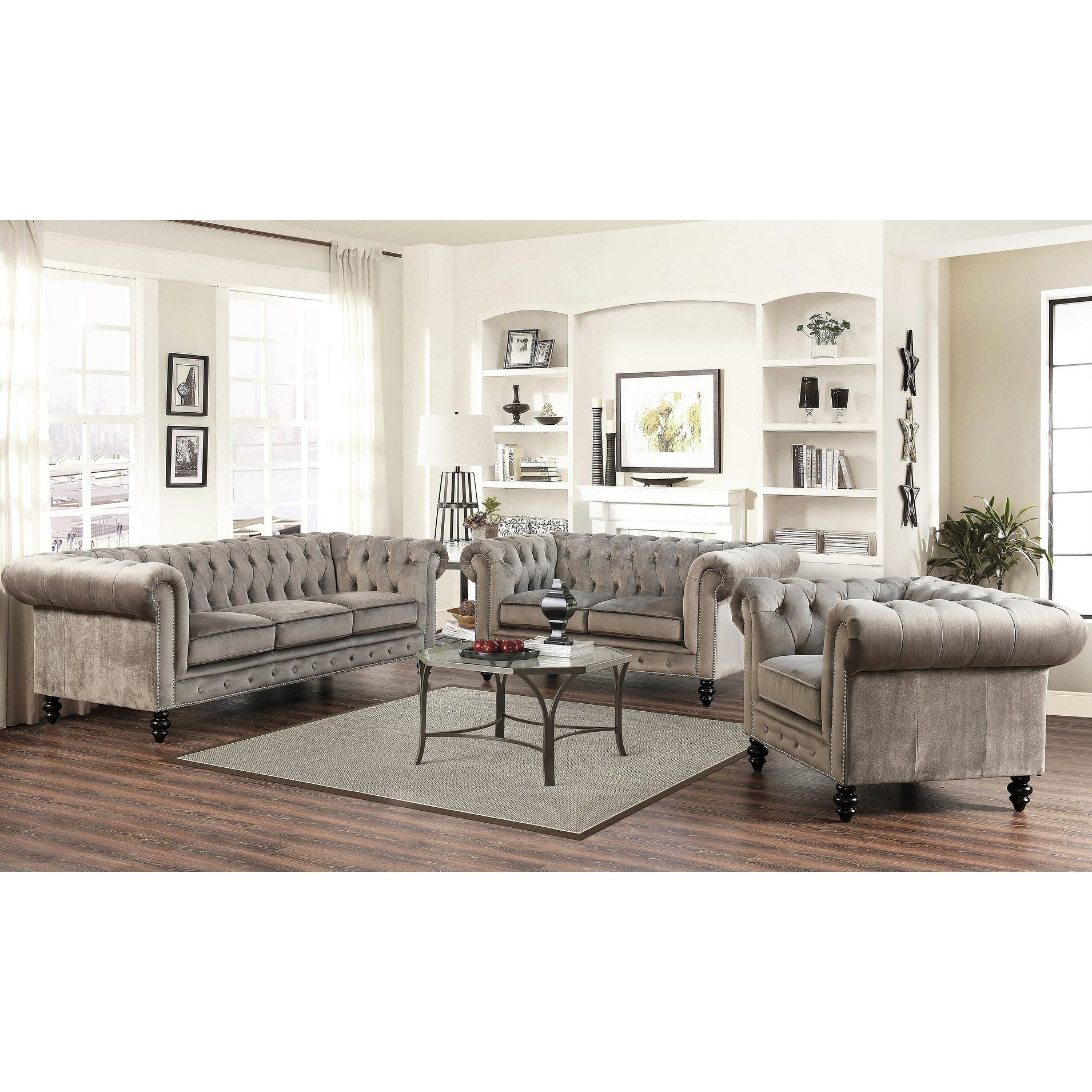 Gracewood Hollow Dib Grey Velvet 3 Piece Living Room Set regarding 11 Smart Designs of How to Make 3 Piece Living Room Set Cheap