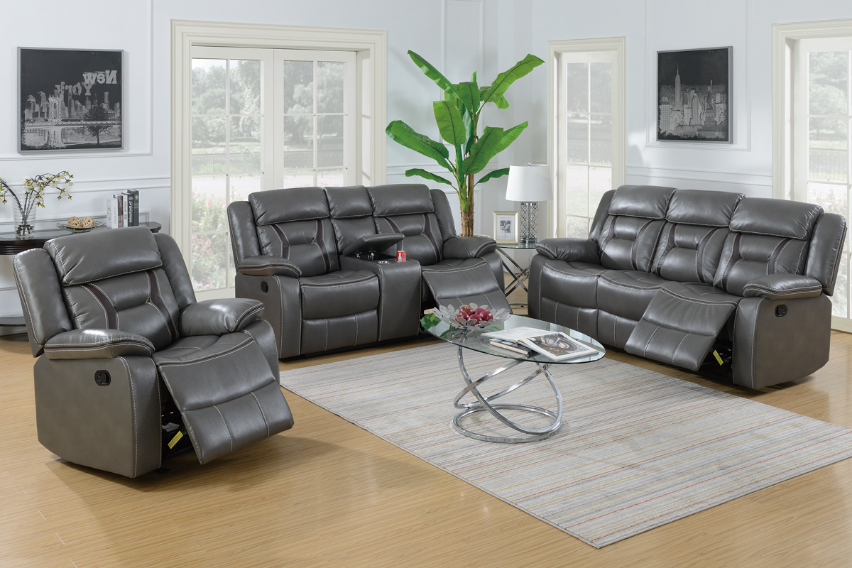 Grey Leather Gel 3pc Retro Style Reclining Sofa Loveseat And Chair Set throughout Chair Set For Living Room