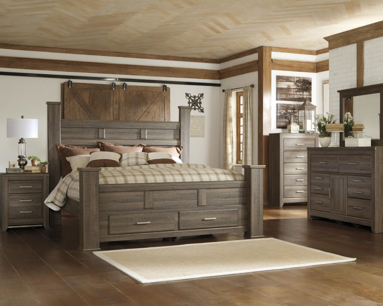 Juararo 4pc Poster Storage Bedroom Set In Dark Brown with regard to King Bedroom Sets Modern