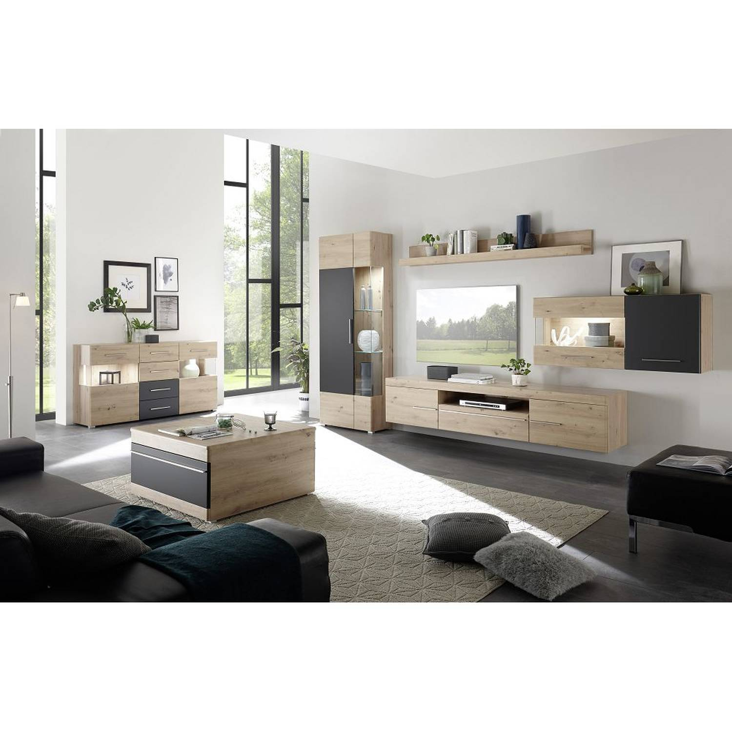 Living Room Complete Set Split 61 Wall Unit Coffee Table Sideboard In Artisan Oak Nb Dimensions Wall Unit Whd 34720035 45cm pertaining to 15 Some of the Coolest Initiatives of How to Make Living Room Complete Sets