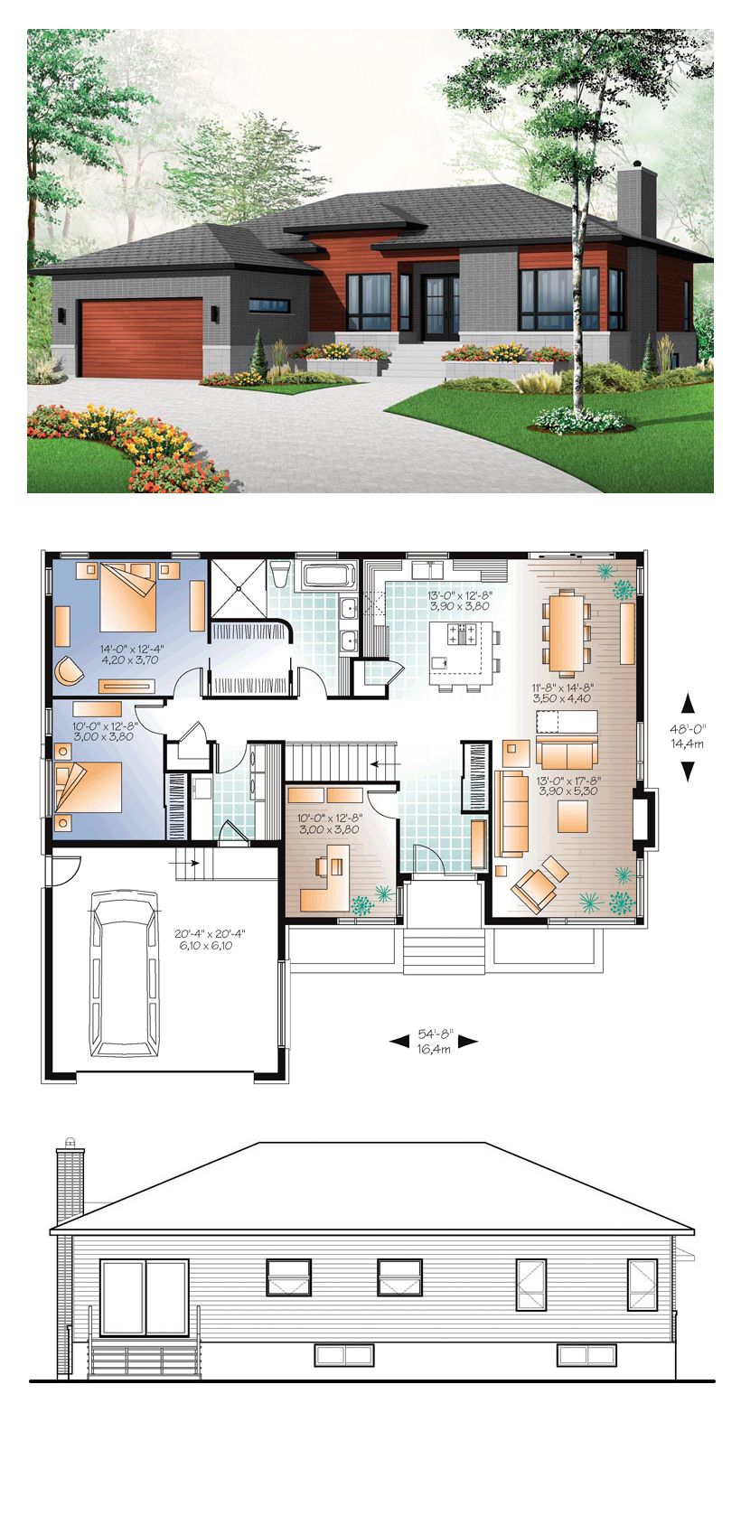 Modern Style House Plan 76355 With 3 Bed 1 Bath 2 Car intended for Modern 3 Bedroom House Plans
