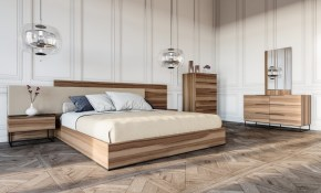 Nova Domus Matteo Italian Modern Walnut Fabric Bedroom Set in Italian Modern Bedroom Sets