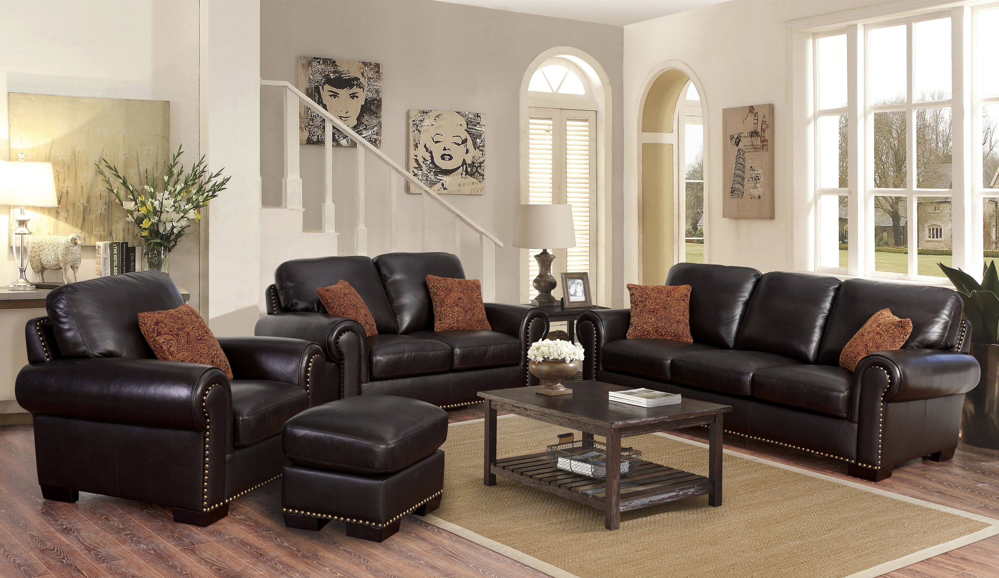 Preston 4 Piece Top Grain Leather Living Room Set in 14 Genius Designs of How to Craft Costco Living Room Sets
