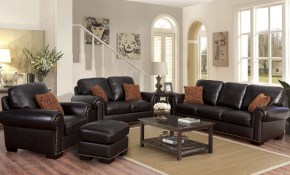 Preston 4 Piece Top Grain Leather Living Room Set throughout Costco Living Room Sets
