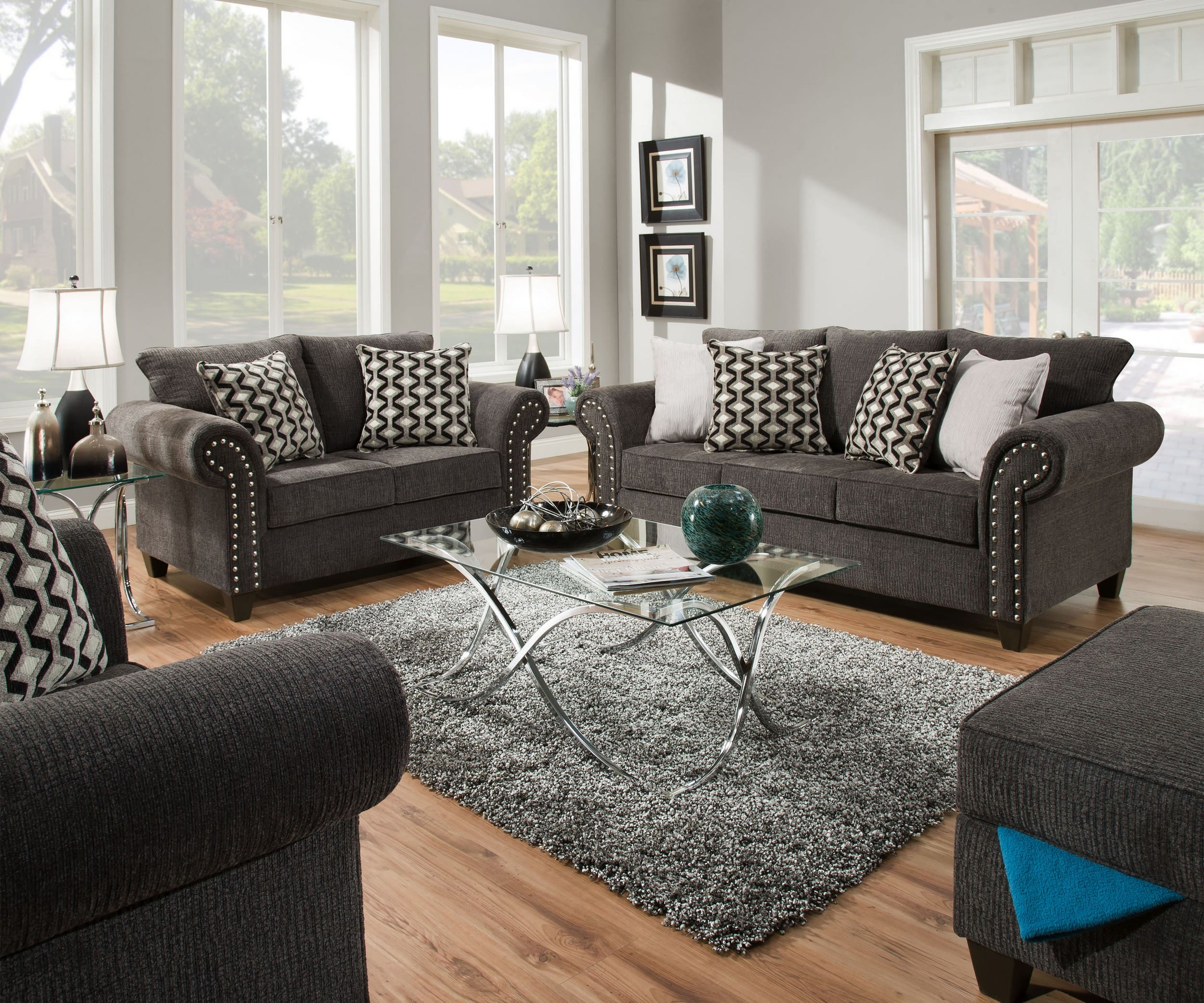 Simmons Upholstery 8036 3 Reed Charcoal 8036 2 Reed Charcoal 8036 1 Reed Charcoal intended for Living Room Set 3 Piece