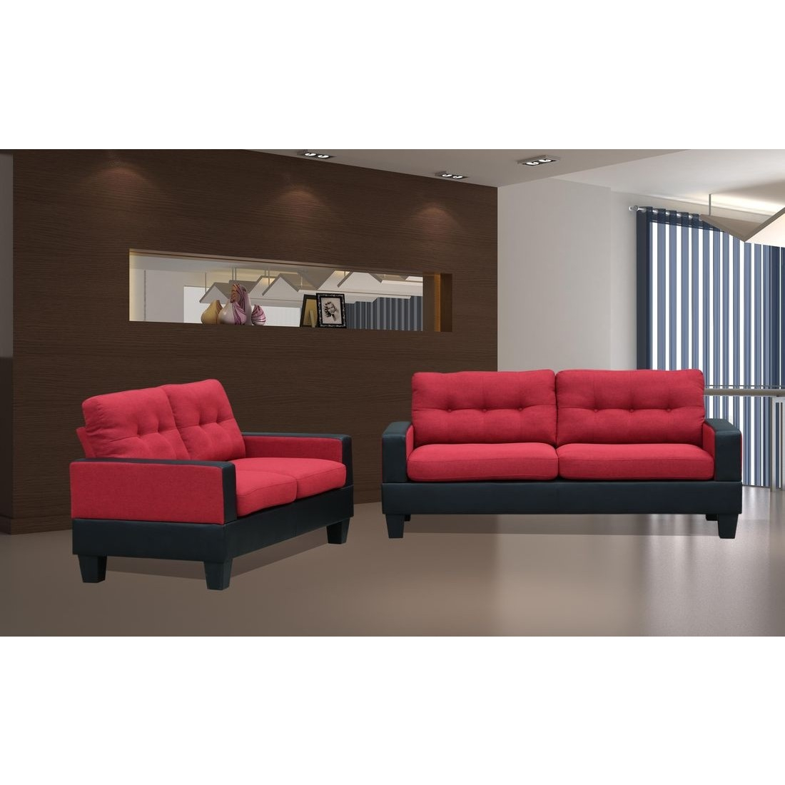 Titanic Furniture U428 2pc Livingroom Set In Redblack with regard to 14 Smart Designs of How to Build Red And Black Living Room Set