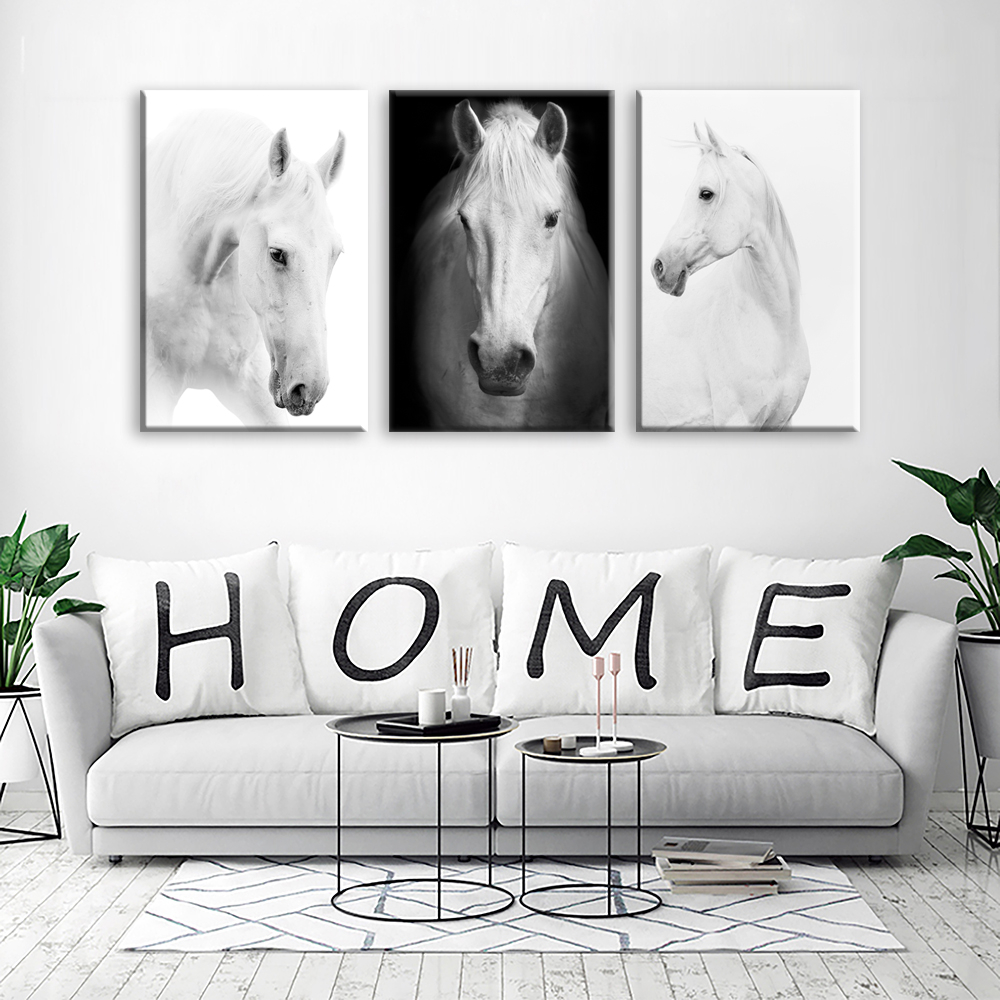 White Horse Wall Art Canvas Prints Modern Art Home Decor For Living Room Bedroom Pictures 3 Panel Large Hd Printed Painting Buy Home Decoration inside Modern Art For Bedroom