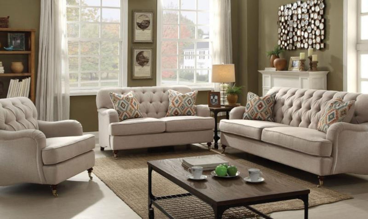 Acme Furniture Alianza Living Room Set In Beige with regard to 14 Clever Ideas How to Improve Beige Living Room Sets