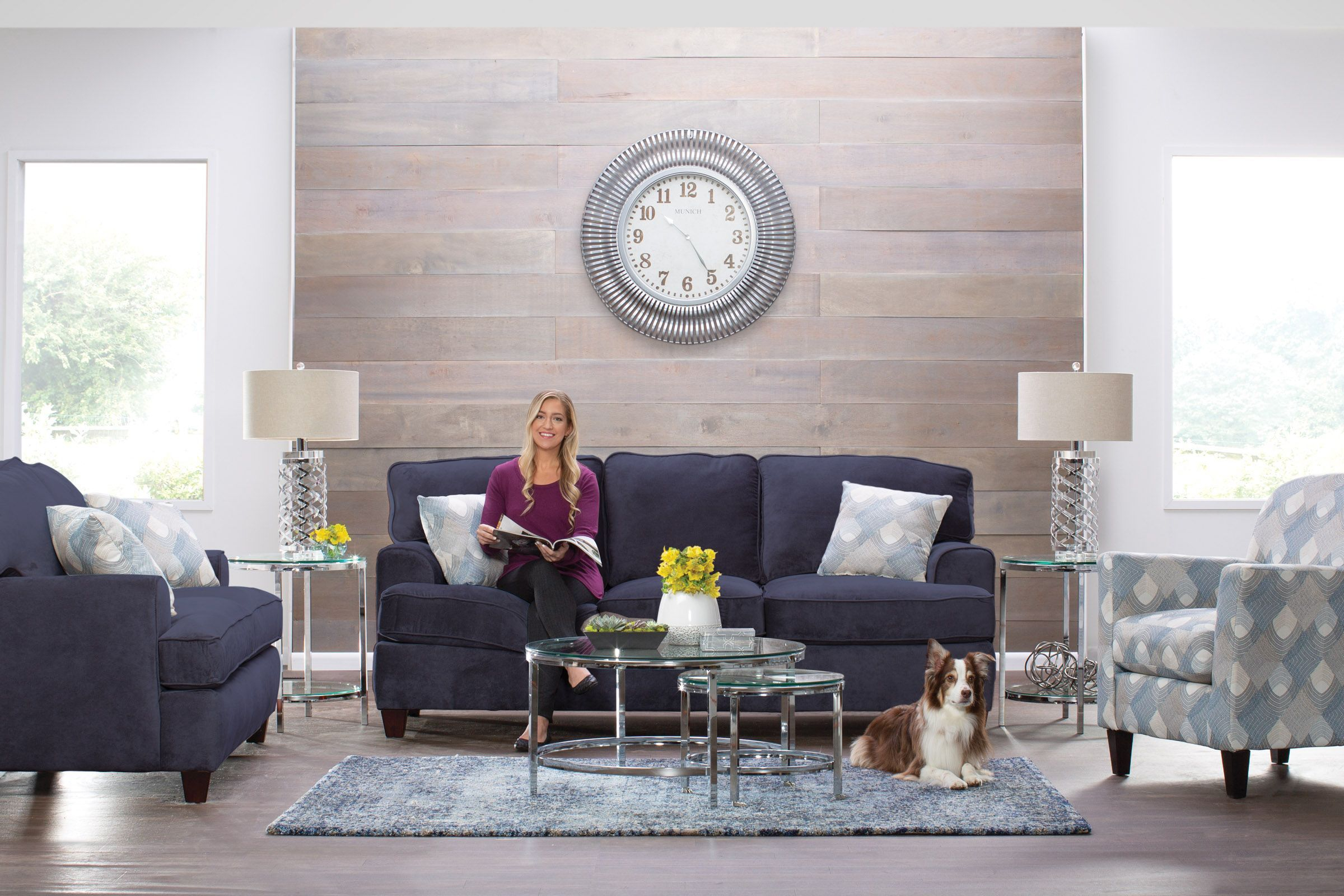 Diana 8 Piece Big Picture Package In Navy Blue With 50 Led with 8 Piece Living Room Set