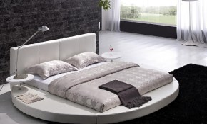 Modern White Leather Headboard Round Bed Buyerxpo White pertaining to Modern White Bedroom Set