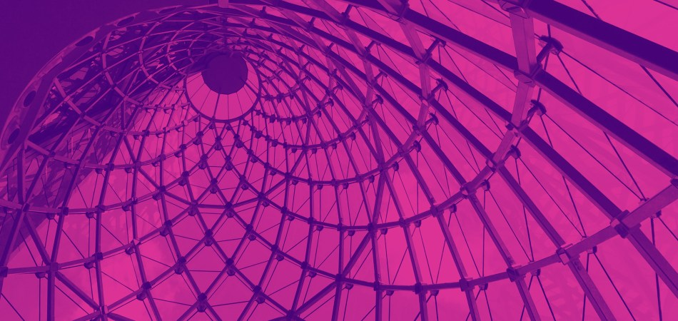 30 St Mary's Axe looking upward with a pink tint