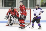 Goaltender Nick Dorken and Chris Ward defend against EMS's Chantelle Goyetche.