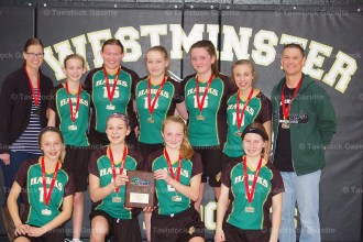 Members of the Hickson Hawks Girls' Basketball championship team include, from the left, in front: Grace Empringham, Amanda Witmer, Beth Ewing, Abby Bender; back row: Coach Ellen van Lierop, Sarah van Dijken, Alyssa Lupton, Hope Morley, Hannah Cowan, Clara Roth, Coach Jon Empringham. Absent from the photo are team members Emma Pullen and Judy Seng. (contributed photo)