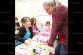 Derika Scheerer gets help from Ms. Marci Rabe in the Grade 3 art class at Tavistock Public School.