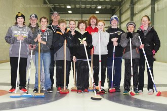 Youth curlers are, from the left: Ryan Ziegler, Blair Sparling, Clayton Gerber, Bill Green(coach), Matthew Brenneman, Josh Kimpel, Mason McKay, Alexandra Beehler, Alyssa Remenda, Alex Dingwell, Matt Bartlett and Jordan Bartlett. (Contributed photo)