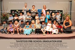 The Tavistock Public School Tuesday Pre-School Graduation Class includes, from the left, seated: Grady McCallum Moesker, Lucie Ward, Eden Neeb, Isaac Brenneman, Natalie Helson, Wynter Dietrich, Tom Odette, Toby Vosters, Aylin VandenBerg, Sophie Bender, Michael Zehr, teacher Lindsay Neeb; standing: Jaxson McGeoch, Elaina Gunn, Jorja Shantz, Porter Gunn, Lily Saunders, Keagan Hodgson, Cameron Kuiack, Cameron Gies, Liam Odette, and behind, teachers Marilyn Lichti, Linda Holst, and Karen Frey.