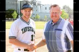 Keith Wagler threw the ceremonial first pitch to his grandson Justin Wagler of the Tavistock Juniors to officially open the U21 tournament on Tuesday night.