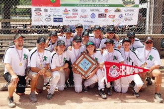 The Tavistock PeeWee Boys earned the 2016 Provincial title in Innerkip on August 6-7. The team includes, from the left, front row: Scott Brown (coach), Jeff Roth (coach), Sam Swartzentruber, Chad Brown, Ryan Ziegler, Luke Hyde, Clay Gerber, and Mark McKay (coach); back row: Mason McKay, Izac Blum, Carter Roth, Will Schlotzhauer, Brady Roth, Kyle Roth, Chad Blum (coach). Absent from photo was Owen Donaldson.