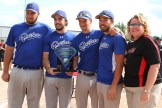 Quebec Express captains accept the U21 Trophy from Softball Canada Supervisor Lisa Down. From the left are William Guay, Marc-Andre Villeneuve, Joey McDonald and Samuel Desmarais.