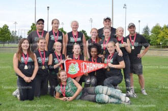 The Tavistock U14 Girls Provincial Champions are, from the left, back row: Head Coach Dave Bailey, Dani Bast, Sarah Culp, Bri Smith, Megan Bailey, Coach Jeff Forthuber, Dani Brodrecht, Coach Dennis Brodrecht; kneeling: Hailey Scott, Alyssa Forthuber, Kam Lamond, Sarah Bailey, Mihret Eliasziw, Morgan Stock; in front: Paige Schneider. Absent when the photo was taken were Coaches Doug Lamond and Taylor Wagler, player Madi Oliver, and bat girl Rianna Forthuber.