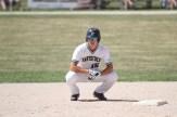 Tavistock Athletics' Bryn Wagler gets set to pinch run at second base.