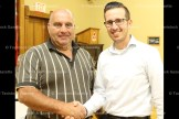 Tavistock Men's Club President (left) with September meeting guest speaker, Festival Hydro CEO Ysni Semsedini.