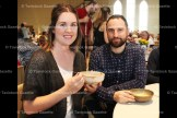 Jesse and Kaleena Schultz of Waterloo enjoy their soup at the empty Bowls fundraiser.