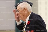 Legion Comrade Harry Lawry salutes after placing a wreath at the Tavistock Public School Remembrance Day Service.