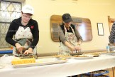 Volunteers Valerie Kropf (left) and Dianne Kropf cut pies in preparation for takeouts at the Tavistock Men's Club 58th Annual Roast Pork and Sauerkraut Supper on November 9th.