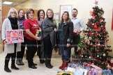 CIBC Tavistock Branch held their Second Annual Toy Drive for the Tavistock Assistance Program (TAP) recently. TAP board member and volunteer Cindy Kropf (right) accepts the donation from Bank Manager Alisha Wilson and other employees, from the left, Sheila Marquardt, Rachel Lariviere, Delia Suteu, Naomi Atwell, and Alex Vink.