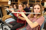 Learning the flute are Tavistock Public School students, from front to back, Brooklynn Lange, Maisy Weicker, Grace Sullivan and Brady Griffi.