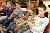 The horn section of Tavistock Public School Grade 7&8 students consists of, from foreground right, Colban Ditner, Justin Roth, Evan Carey and Amy Danen.