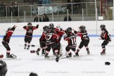 The South Huron Sabres celebrate after scoring a 3-2 overtime win against the Tavistock Novice Titans to win the OMHA Ontario West CC Championship.