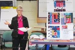 Joyce Hill, ROSE program coordinator gave step-by step instructions at the Oxford W.I. 'Big Quilt Bee.'