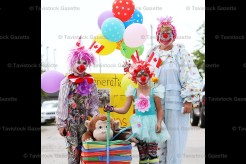 Judged the most creative entry in Saturday's 70th Shakespeare Community Athletic Association (SCAA) Field Day Parade was that of Brenda Horst and her granddaughters, Sierra and Marissa Myers (daughters of Abby and Jay Myers of New Hamburg) dressed as clowns. Brenda's costume was worn by her father, Sandy Horst in 1981 when Brenda and her son, Colin, entered the parade.