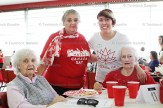 About 120 people attended the peopleCare Tavistock's Annual Family Picnic on Wednesday, June 21st, this year celebrating Canada's 150th anniversary. Above, from the left, resident Pearl Moore, volunteer Lorna Jackson, Receptionist Rachel Scott and resident Audrey Pitts enjoy fellowship in the Queen's Park Centre pavilion.