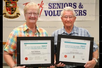 Gloria Wettlaufer and Ken Mogk were honoured at a ceremony in Innerkip on June 14th.