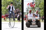 Steve Marriott rides the pennyfarthing bicycle while Shriners wave to the crowd.
