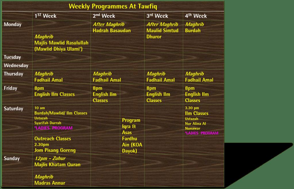 Tawfiq schedule