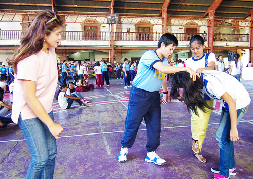 BASIC SELF-DEFENSE FOR WOMEN. Governor Imee Marcos (left) joins the Basic Self-Defense Training held in Laoag City during the Provincial Government's 2017 Women's Month Celebration. (Photo by PGIN/CMO)