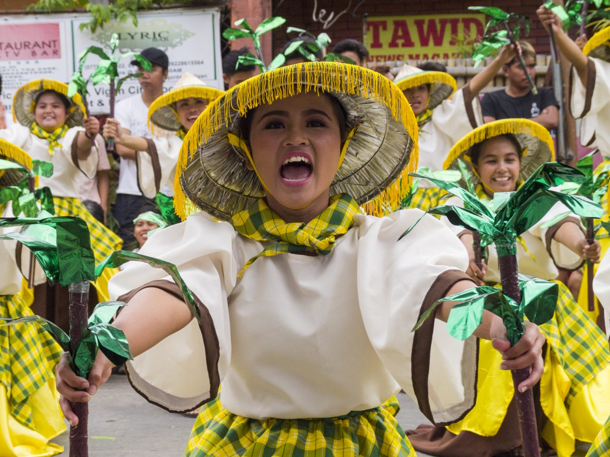 SANTA MARIA LGU WINS KANNAWIDAN STREET DANCING COMPETITION. The lively smiles, the beauty and energy of dancers from Ilocos Sur Polytechnic State College representing Sta Maria, Ilocos Sur assured their town the top prize in the recent Kannawidan Festival street dancing competition. Photo taken by Jasper Espejo during the group's performance in front of the Vigan Convention Center.