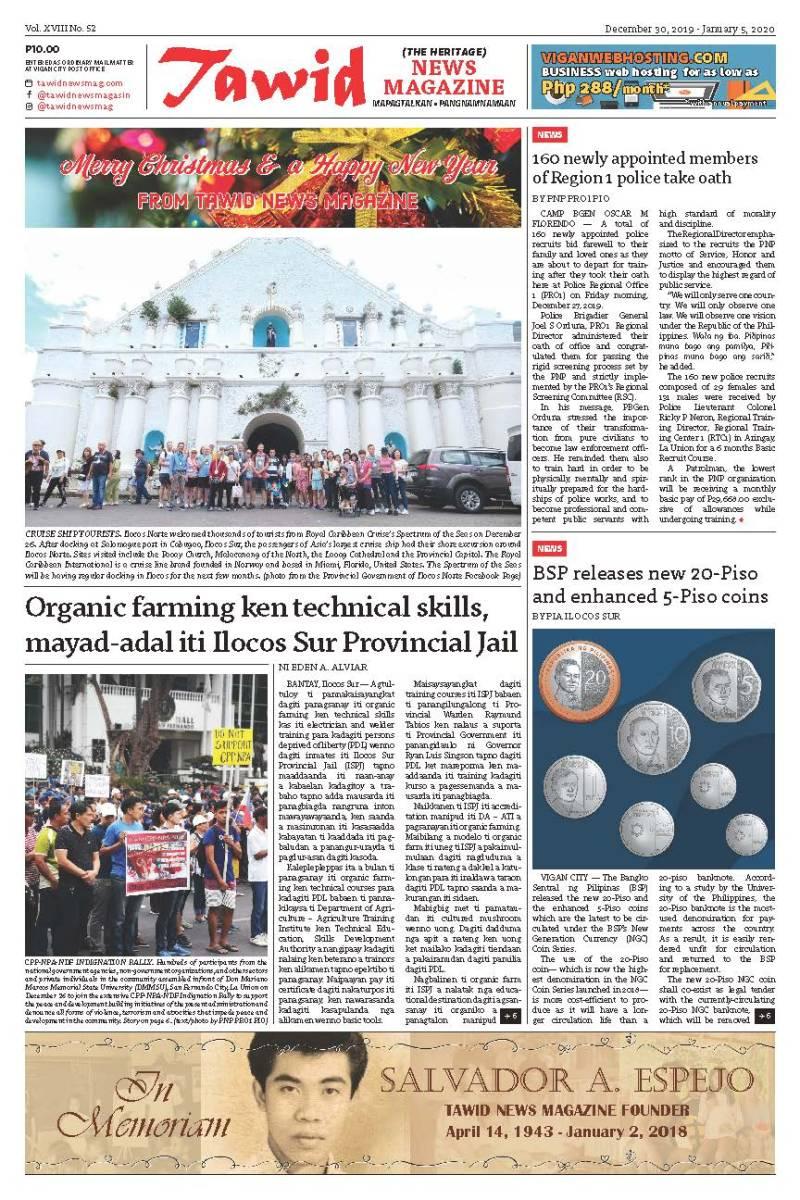 December 30, 2019 – January 5, 2020 — Tawid News Magazine