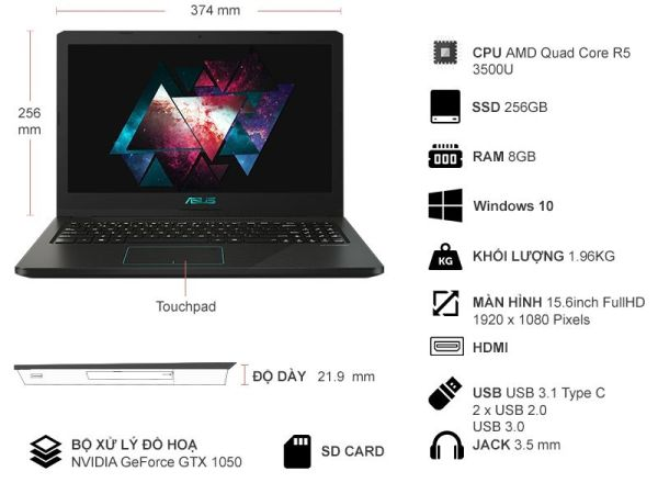 Laptop Gaming Asus D570DD-E4028T