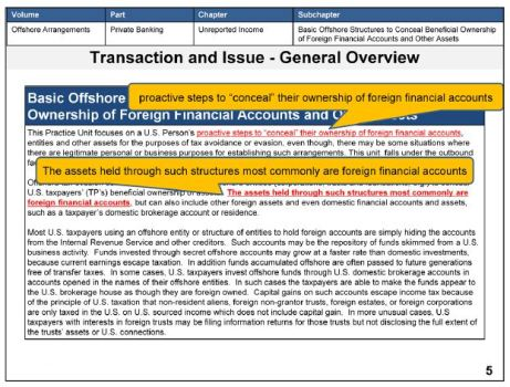 IRS Offshore Training TECs database - Concealment Hiding assets.